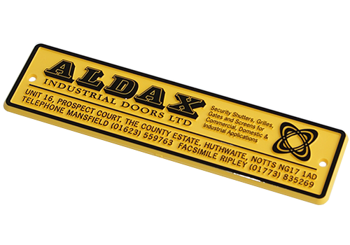 custom relief yellow nameplate with black tipping