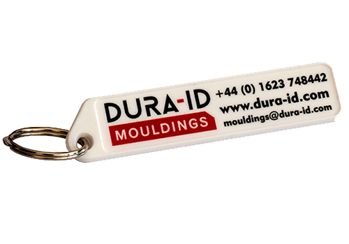 Promotional keyring with digitally printed company information