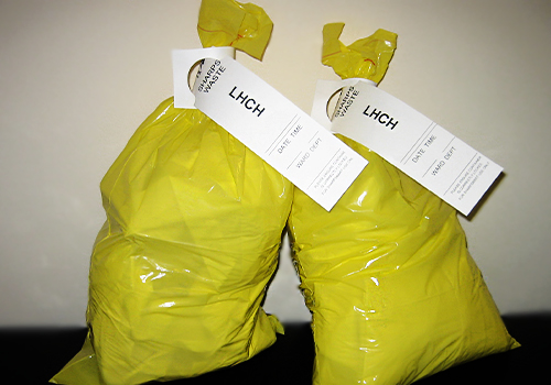 Clinical waste with self-tie tag for identification