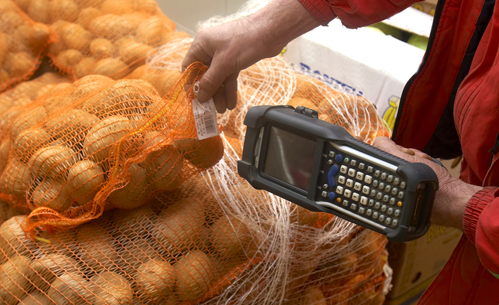 Scanning Label on Vegetables