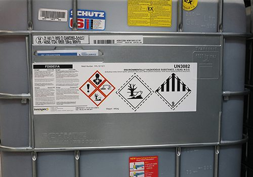 Label on chemical IBC