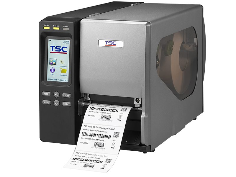 TSC MT Range of thermal transfer printers printing black and white label